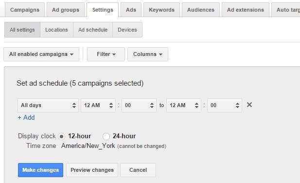 Adwords Campaign Settings